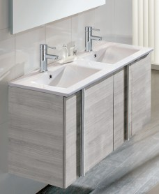 Athena Sandy Grey 4 Door 120cm Wall Hung Vanity Unit & Basin