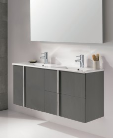 Athena Gloss Grey 120cm Double Vanity Unit 2 Door 2 Drawer & Basin