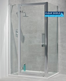 Avante 8mm 1500 x 800 Hinged Shower Door with Double Infill Panel