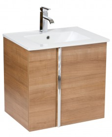 Athena Walnut 60cm Wall Hung Vanity Unit 2 Door & Basin