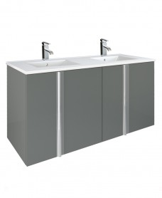 Athena Gloss Grey 120cm Double Vanity Unit 4 Door Basin