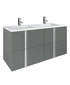 Athena Gloss Grey 120cm Double Vanity Unit 4 Drawer & Totano Basin