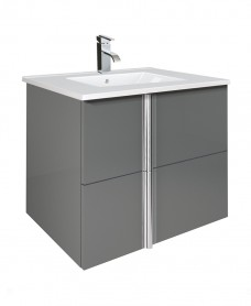 Athena Gloss Grey 60cm Vanity Unit 2 Drawer and Basin