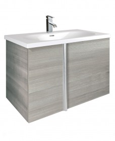 Athena Sandy Grey 2 Door 80cm Wall Hung Vanity Unit and Aida Basin