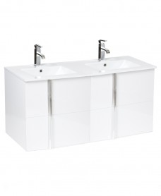 Athena White 4 Drawer 120cm Wall Hung Vanity Unit and Basin