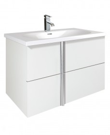 Athena White 2 Drawer 80cm Wall Hung Vanity Unit and Aida Basin