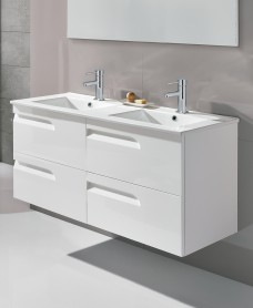 Pravia White 120cm Vanity Unit 4 Drawer and Basin
