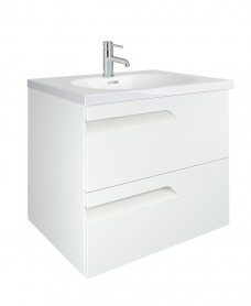 Pravia White 60cm Vanity Unit 2 Drawer and Aida Basin