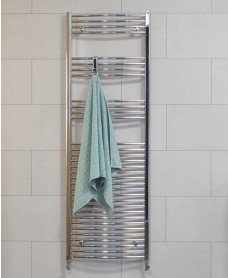 Curved 1800x600 Heated Towel Rail Chrome
