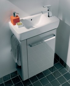 Twyford E200 500 Grey Vanity Unit Wall Hung RH Tap with Left Towel Rail