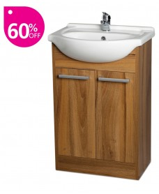 Crete Walnut 55cm Unit, Basin & Tap & Waste
