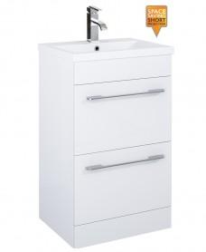 Carla 50cm Vanity Unit 2 Drawer White and Basin