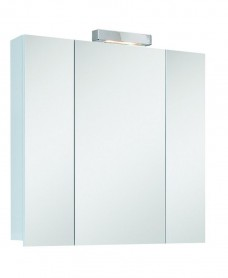 Hampton 3 Door Mirror Cabinet 80cm White with Light Fitting