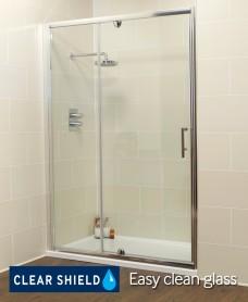 Kyra Range 1000 Pivot Shower Door & Inline Shower Enclosure - Adjustment 960-1020mm