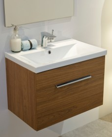 Vanore Walnut  Slimline 50cm Wall Hung Vanity Unit