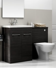 Paola Black Slimline 50cm Combination Unit - 2 Door - 1120mm - with Toilet
