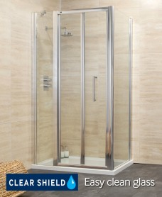 Rival 1100 Bifold Shower Enclosure with Single Infill Panel and Side Panel