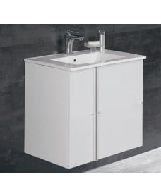 Athena White 2 Door 60cm Wall Hung Vanity Unit and Basin