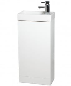 Space 40cm White Floor Standing Unit ,  Cloakroom Basin & Tap