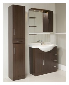 Cordoba Wenge Furniture Pack - vanity unit, mirror, tall unit and tap.