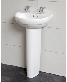 Twyford Refresh Cloakroom Basin 45cm & Pedestal (2TH)