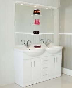 White Double Vanity Unit
