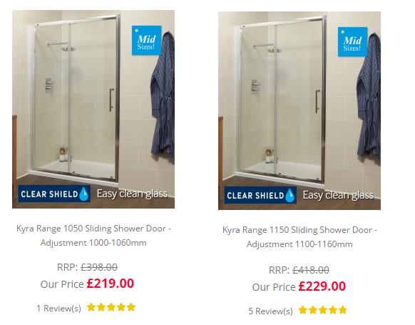 1050mm to 1150mm shower door