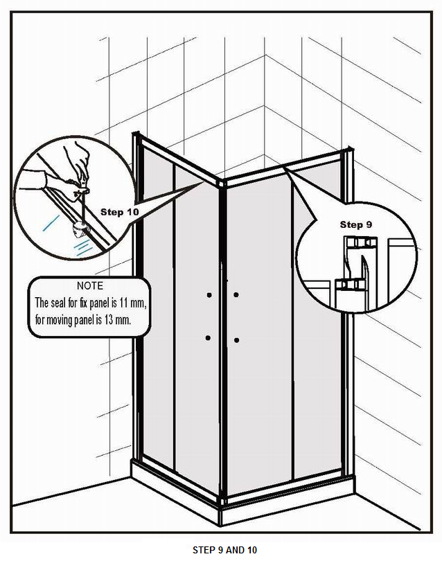 How to fit a Shower Door Step 9 and 10