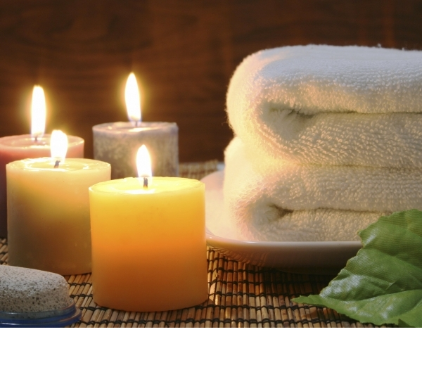 candles and towels for Hygge bathroom
