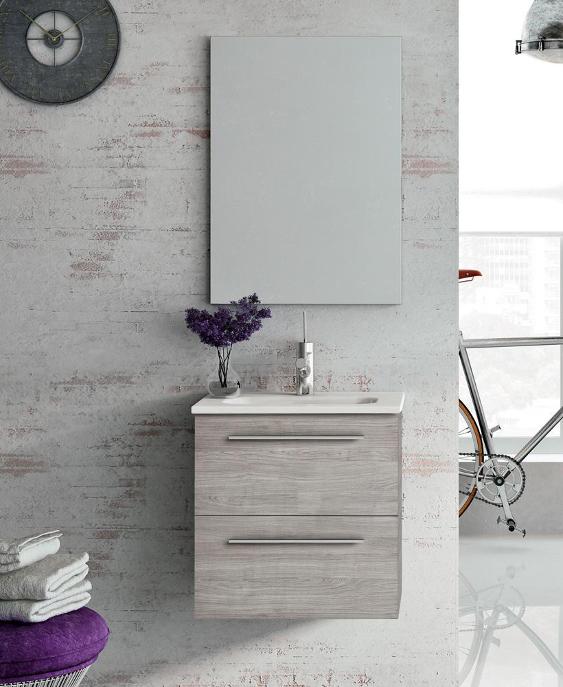 Zurich 50 cm Sandy Grey Vanity Pack with Mirror - Drawers