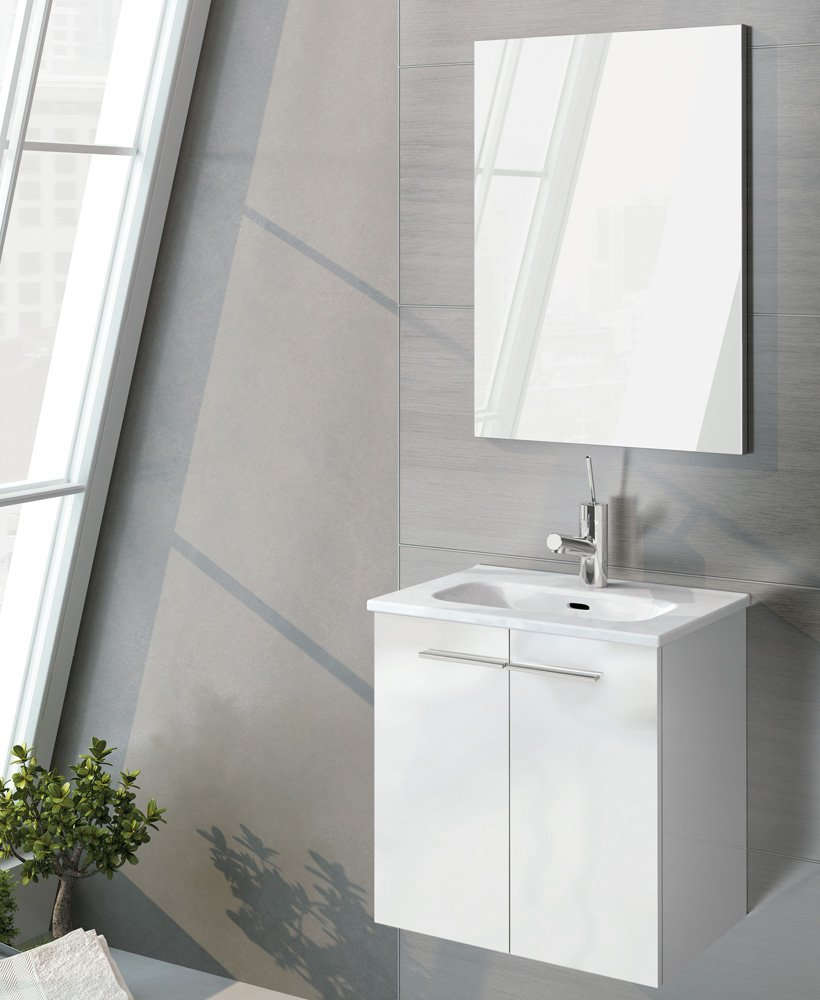 Zurich 50 cm Gloss White Vanity Pack with Mirror - Doors