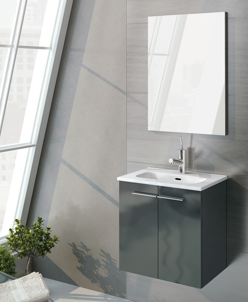 Zurich 50 cm Gloss Grey Vanity Pack with Mirror - Doors