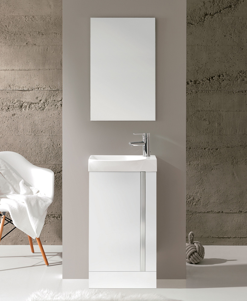 Bern 45 cm Gloss White Floor Standing Vanity Pack with Mirror