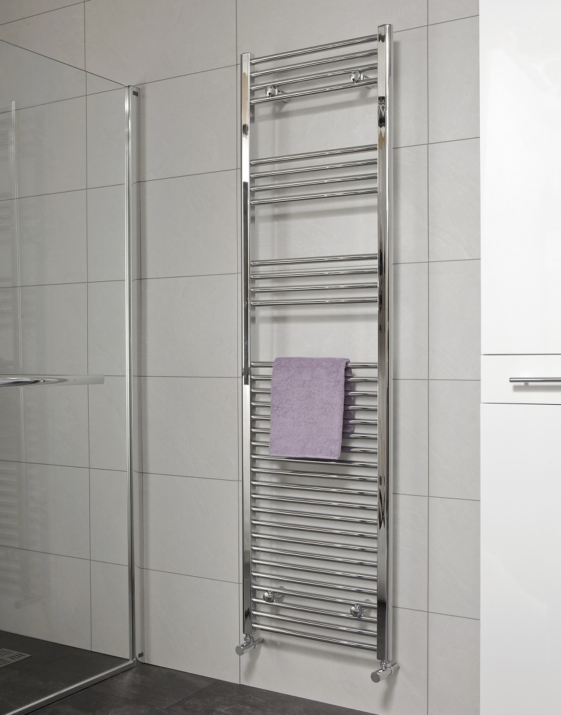 Straight 1800x500 Heated Towel Rail Chrome