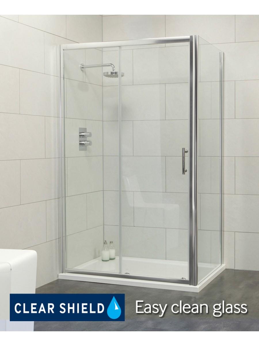 Cello 1000 x 760 sliding shower door - includes 760mm side panel