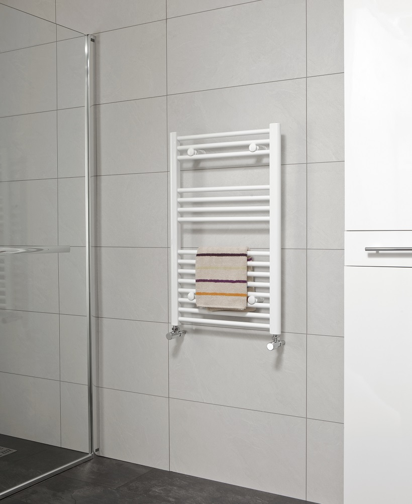 Straight 800x600 Heated Towel Rail White