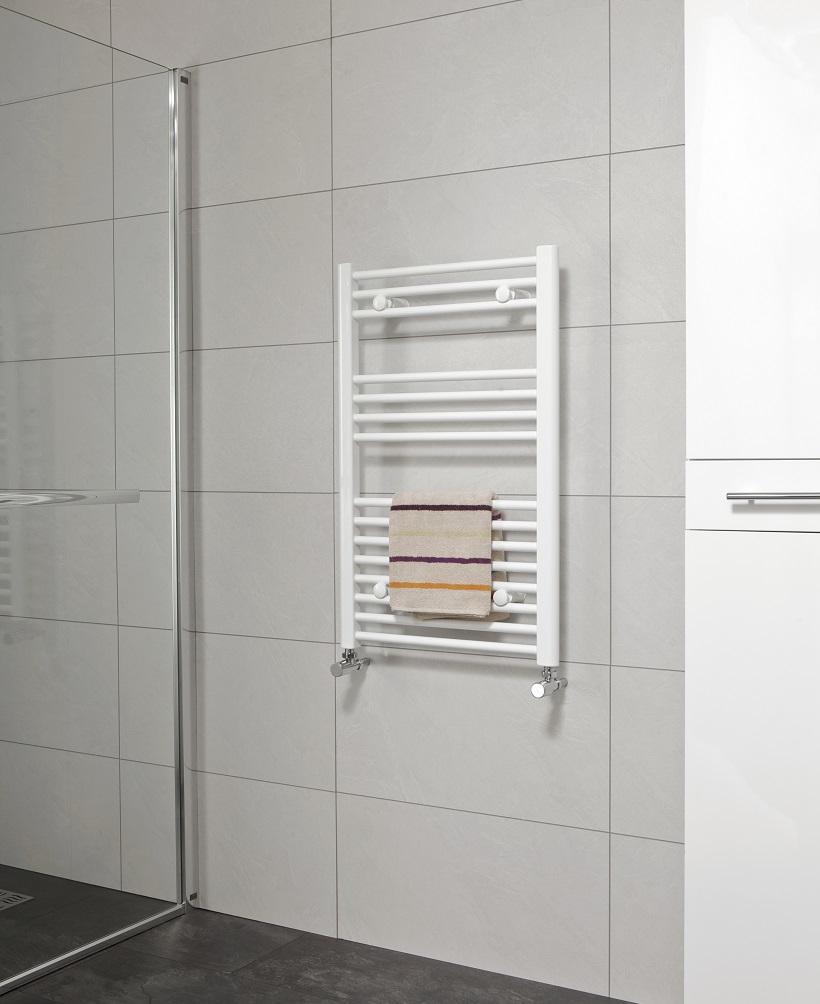 Straight 800x500 Heated Towel Rail White
