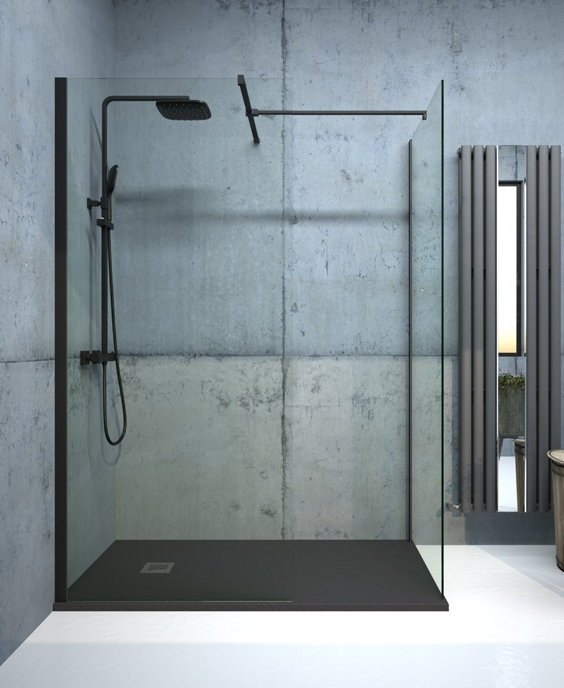 Apura Black 800mm Wetroom Panel, Adjustment Min - Max 770 - 790mm