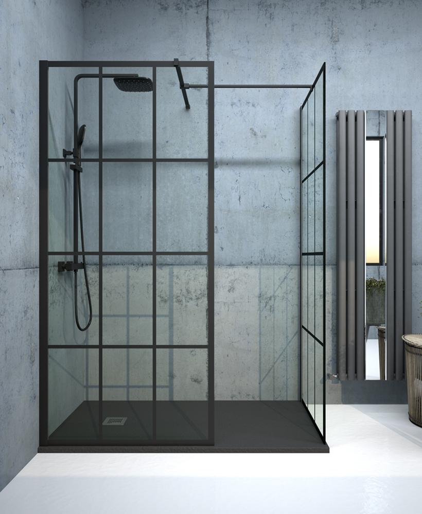 Apura Black Trellis 1100mm Wetroom Panel, Adjustment Min - Max 1070 - 1090mm