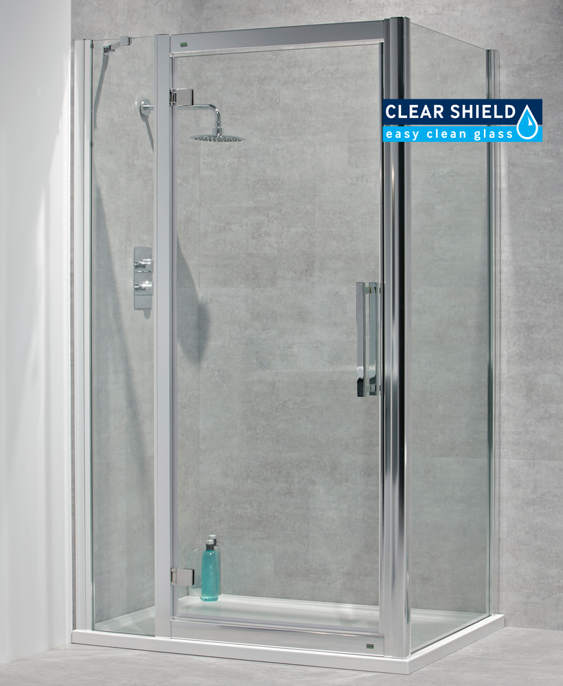 Avante 8mm 1400 x 760 Hinged Shower Door with Double Infill Panel