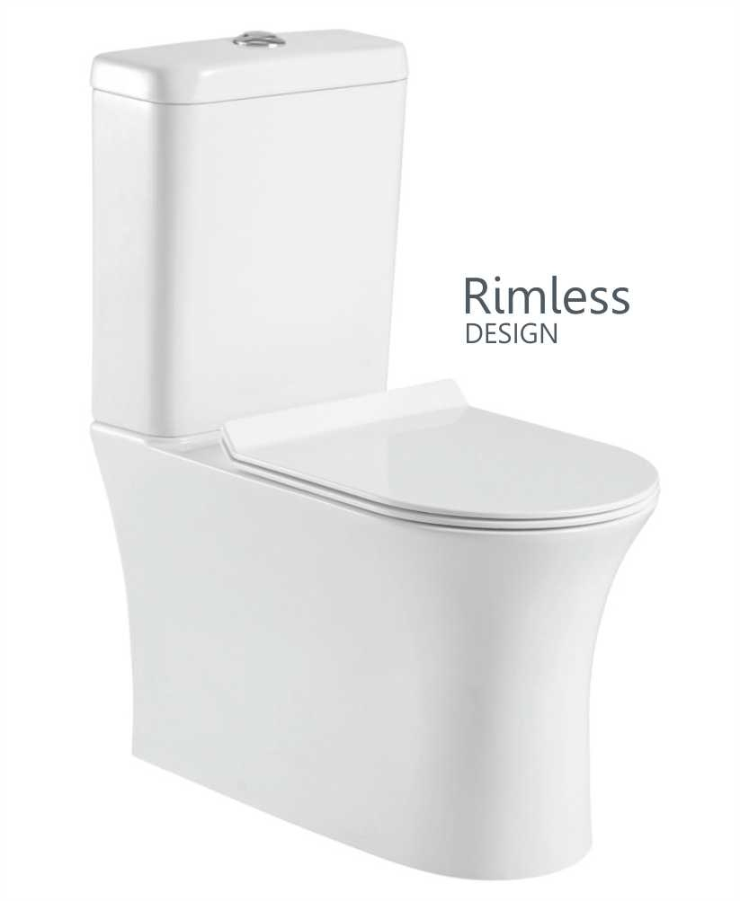 Angela Fully Shrouded Close Coupled Rimless WC with Soft Closing SLIM Quick Release Seat