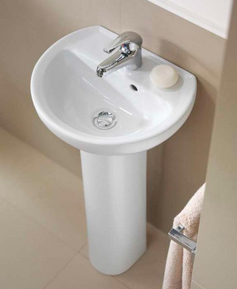 Twyford Alcona 40cm Cloakroom Basin & Pedestal (1TH)