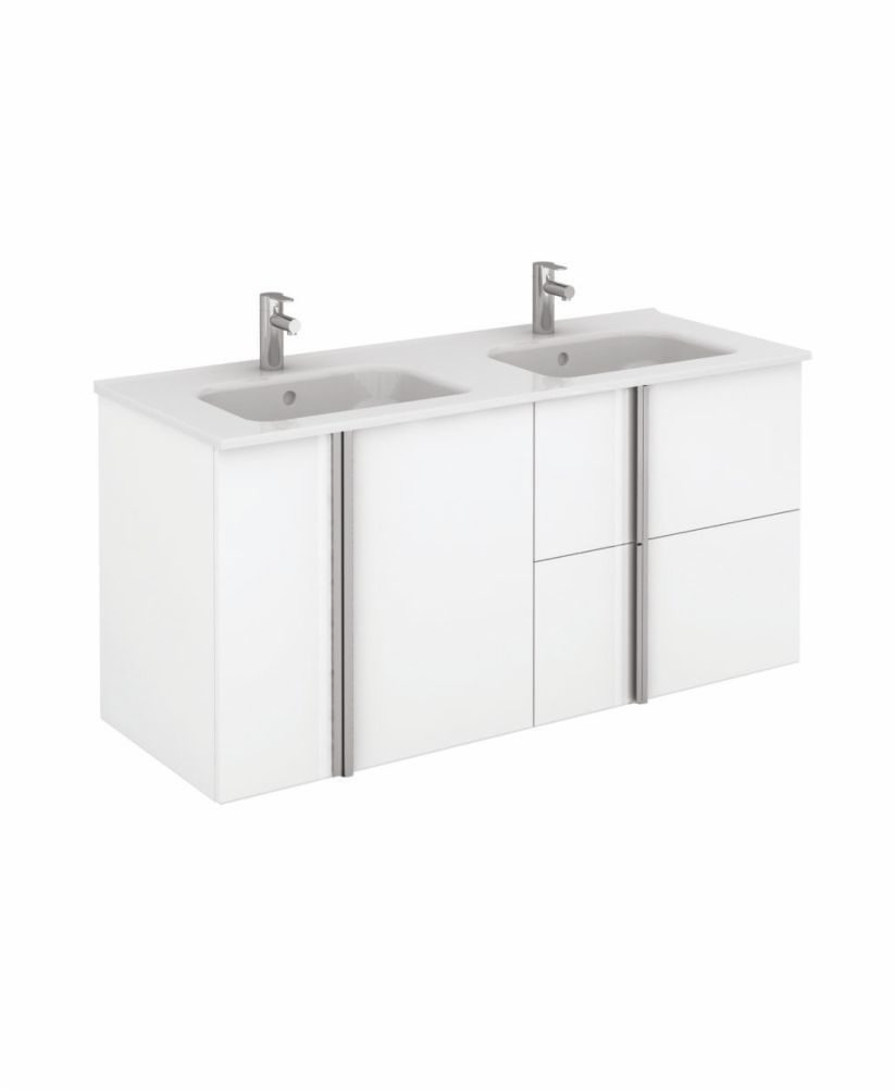 Athena 120cm Gloss White Double Vanity Unit with SLIM Basin -  Drawers + Doors