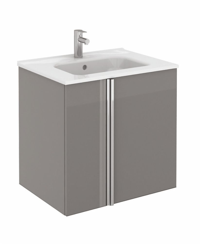 Athena 60cm Gloss Grey Vanity Unit with SLIM Basin - Doors