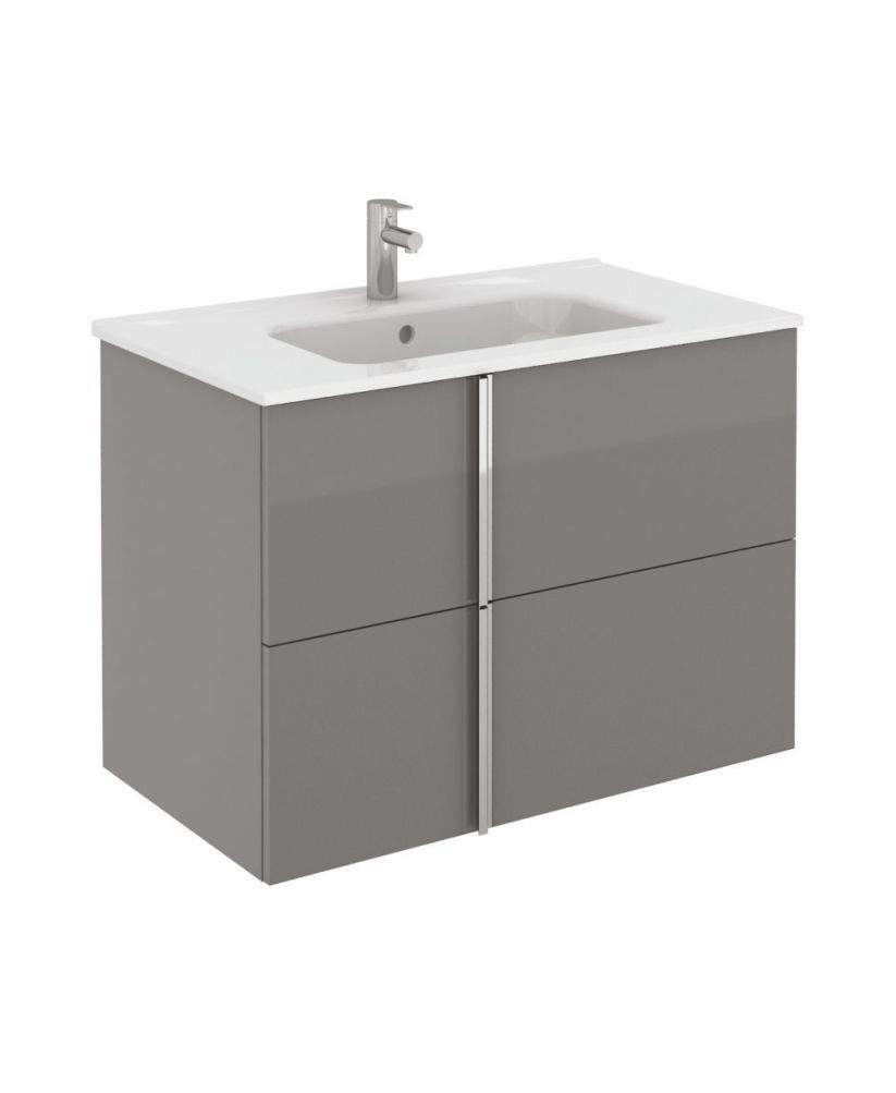 Athena 80cm Gloss Grey Vanity Unit with SLIM Basin - Drawers