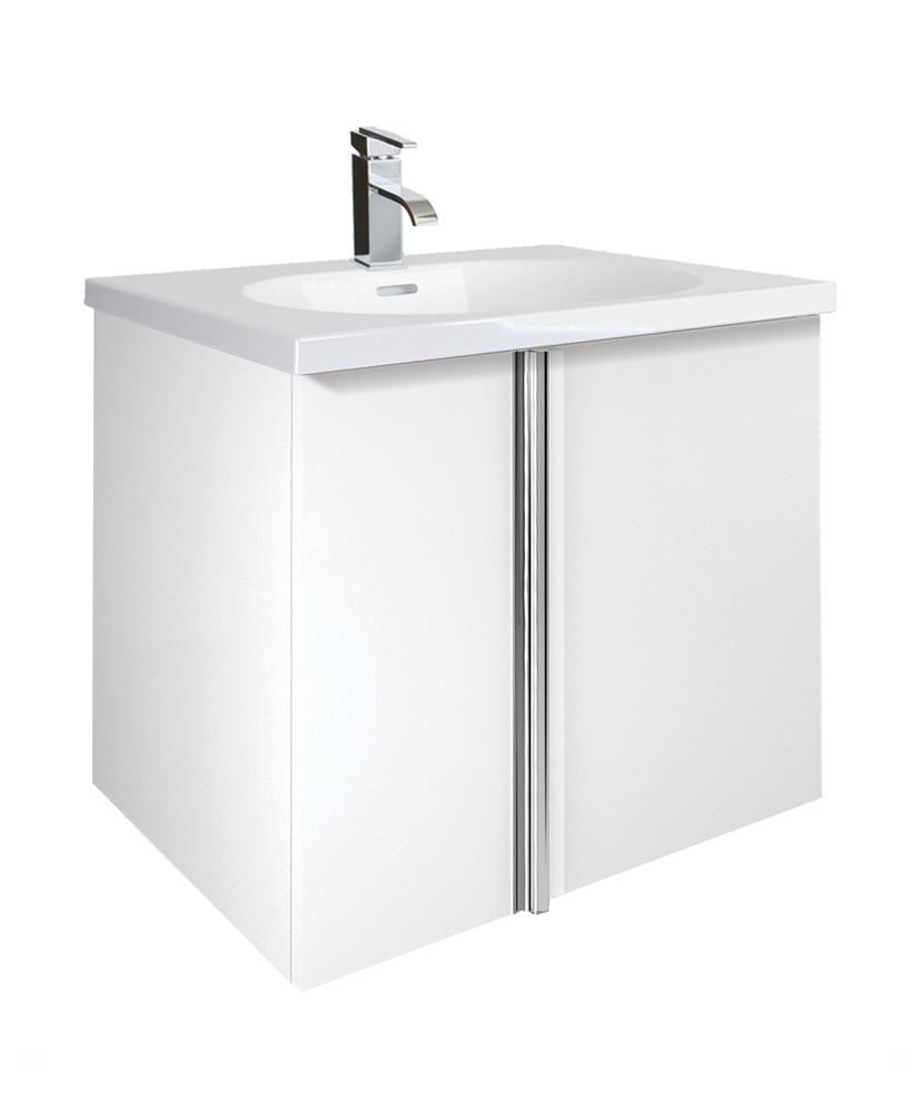 Athena White 2 Door 60cm Wall Hung Vanity Unit and Aida Basin