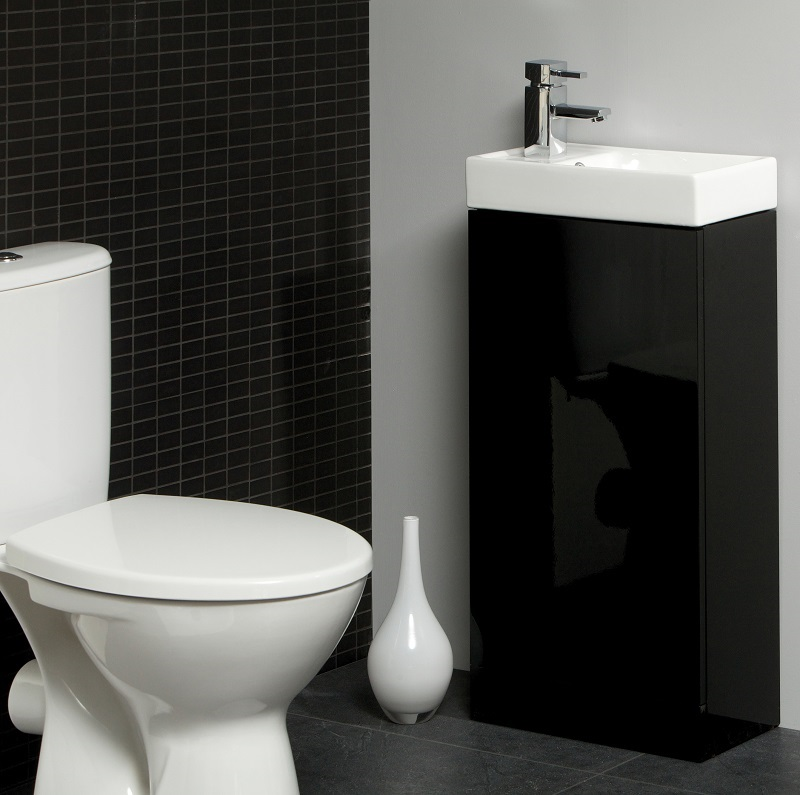 Space Cloakroom Suite with Toilet and Slimline Unit and Basin