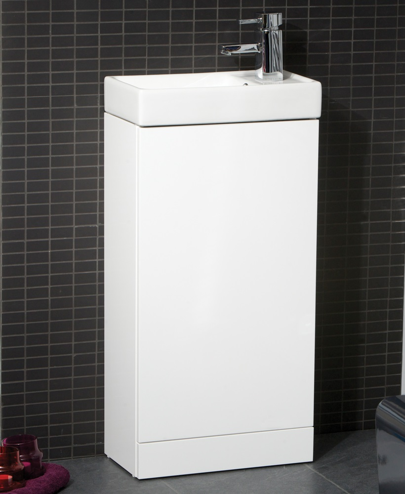 Space 40cm White Floor Standing Unit & Cloakroom Basin