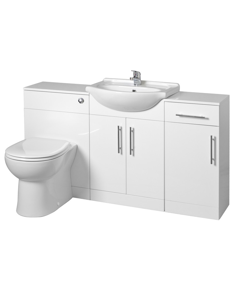 Blanco 65cm WC Combination & Floor Unit - with Twyford BTW Toilet & Seat