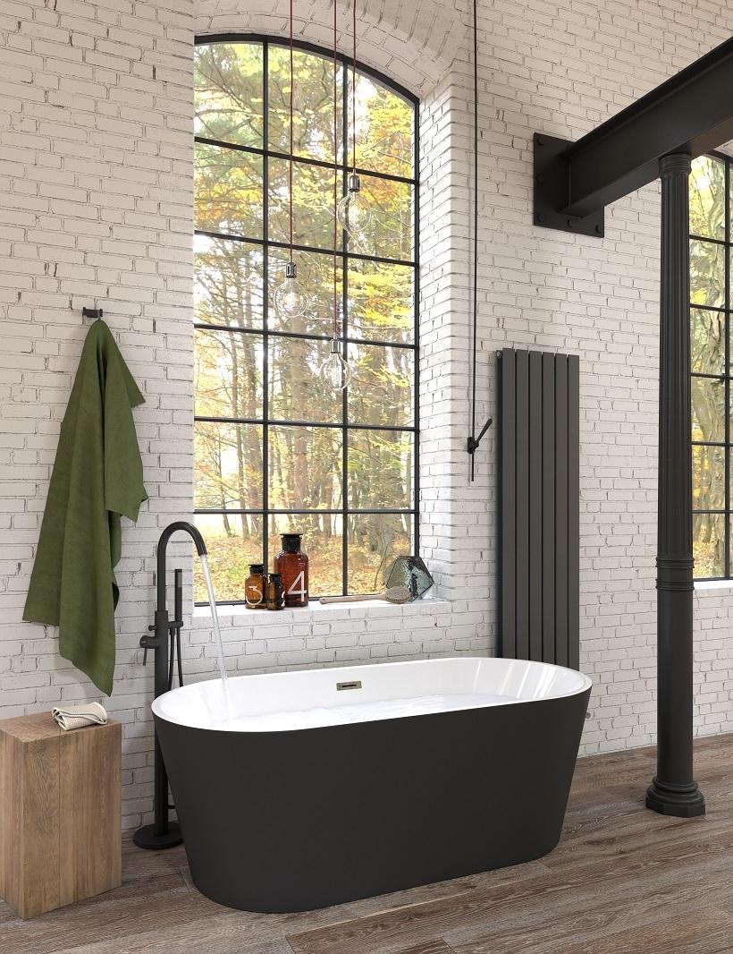 Santana Matt Black Freestanding Bath - 1700mm